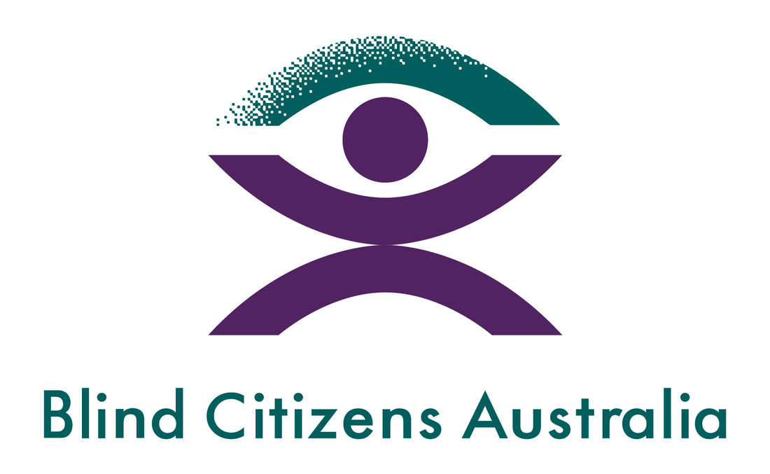 Picture of BCA logo and text says Blind Citizens Australia